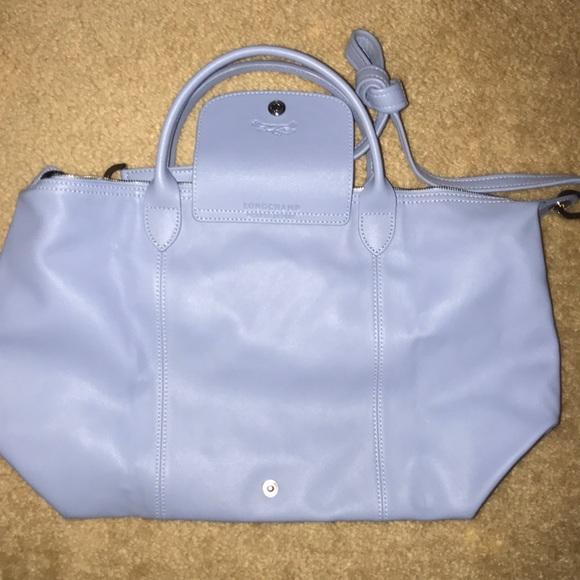 Longchamp Bags   Le Pliage Cuir Light Blue Shoulder Bag   Poshmark e5a080483b5